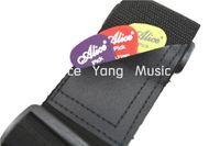 Alice nylon noir acoustique guitare électrique Sangle Ends en cuir avec guitare Picks poche Livraison gratuite Wholesales