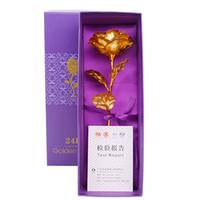 Or Roses 24K Feuille D'or Décoration Artificielle Rose Fleurs En Boîte Cadeau Meilleur Cadeau pour la Fête Des Mères Saint Valentin Noël Thanksgiving