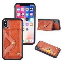 Couro capa protetora para iPhone X XS 8 7 Plus Cartão Wallet Titular Caixa à prova de choque Slim Fit Cell Phone Voltar Shell com espelho