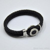 high quality MB Leather Bracelets Woven Antique mens black C...