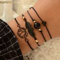 4Pcs Set Bohemian Lotus Bracelets Set Summer Design Black Fe...