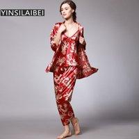 Yinsilaibei mulheres cetim sleepwear feminino pijama conjuntos de senhoras pijamas plus size dragão impressão mulheres vestuário home caseiro # 10 t200529
