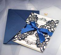 Luxuxgoldlaser schnitt Hochzeits-Einladungs-Karten-Papier mit Band-Umschlägen Fertigen Sie Halloween-Partei-Hochzeits-Dekoration XD20162 besonders an