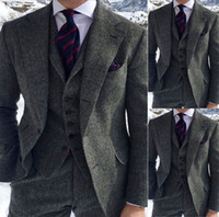Mens Grey Suits 3 Piece Tweed Suit Herringbone Wool Blend Vi...