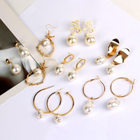 Vintage Irregular Imitation Pearl Earrings Female Gold Alloy...