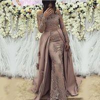 Vestidos de noche de las mangas de noche de encaje árabe modesto modesto barato Vestidos de prom Play 2020 elegantes apliques Formal Gala plus Tamaño vestido de fiesta
