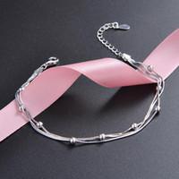 925 Branelli in argento sterling Bracciali a catena trasversale per le donne Semplici Braccialetti di nozze Tiny Pulseras Plata de Ley 925 Mujer