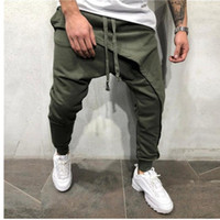 2019 men pencil trouser Men Asymetric Layered Jogger Pants H...