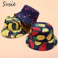 여성 남성 여름 가역 팩커 블 버켓 모자 다채로운 열대 과일 파인애플 바나나 하라주쿠 챙이 넓은 어부 모자 인쇄