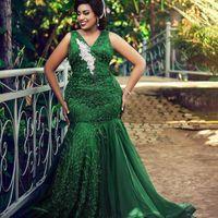 Plus Size Dark Green Abendkleid öffnen Low Back Beadings Appliques-Spitze-Satin-Nixe-lange Abend-Partei-Kleider 2020 Mode