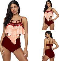 Frauen-Sport-Fat und Rock Split Strickjacke ein Stück Lotusblatt Süßigkeiten großes Plus große yakuda Badeanzug flexible stilvolle Bikinis Sets Damen