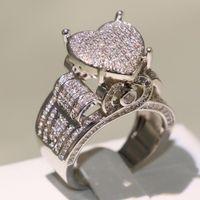 Gioielli Choucong vendita superiore dell'annata di alta qualità argento 925 pavimenta Bianco Saaphire CZ Eternity Diamond Wedding Ring Donne Banda Cuore
