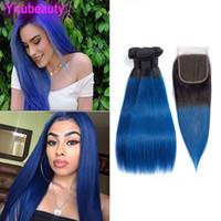 Virgin cheveux Bundles brésiliens 1B Closures droite Bleu 3 Bundles Avec 4X4 Dentelle Fermeture à deux tons de couleur 1b / 4pcs bleu