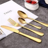 Goldly Gold Inoxpirless talheres Cutlery Colher Faca Forquilha Wed Louça de Louça de Talheres Seguro