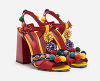Estate nuove donne partito sandali alti in vera pelle Colorful Gladiatore Ladies Shoes Chunky Heel Pumps Shoes Women