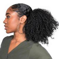 Rebauty Sentetik At Kuyruğu Afro Puf Kinky Kıvırcık İpli At Kuyruğu Siyah Kadınlar Için Kinky Kıvırcık İpli Puf Postiş 8 inç