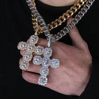 Nuovo zircone 92 millimetri alta e super grande croce pendente retrò hip hop grande collana gioielli