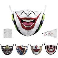 10pcs traspirante Halloween Digital Printing Mask 2 strati di maschere per adulti partito di travestimento di Joker Viso riutilizzabile anti-fog Cosplay Mascherine
