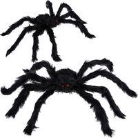 50 cm / 19,7 inç Cadılar Bayramı Dekorasyon Siyah Kırmızı Göz Çocuklar Çocuklar Oyuncak Korku Evi Prop Parti ile Korku Örümcek Malzemeleri Yana JK1909PH