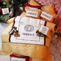 3 Color V Letter Goddess Bedding Suit Fashion Gold Thread Em...