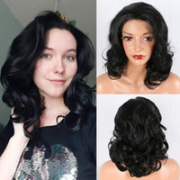 Barato preto obscuro preta bob encaracolado ondulado pregado brasileiro perucas brasileiras resistente ao calor fibra sintética dianteira peruca mulheres negras