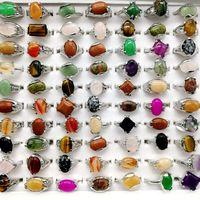 Moda 30 Peças / lote Anel De Pedra Do Arco-íris Mix Estilo Designs Pedra Natural das Mulheres Anel de Presente Da Jóia
