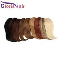 Grampo de cabelo humano brasileiro em franja full fringe curto remy extensões de cabelo clip na bangs pentear para mulheres negras