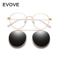 Óculos de sol EVARVE clip em dócyeglasses molduras masculinas mulheres polarizadas homens redondo óculos de sol miopia lente dupla