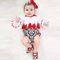 New Summer Infant Neonate 3pcs Set Babies Flare Long Sleeve Pagliaccetti Top + Fascia + Scarpe Kids Set Bambino Bebé Outfit 14757