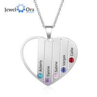 Pingentes Coração com 5 Birthstones personalizado gravado Nome Mãe Crianças Presente Colar Família (JewelOra NE103267)