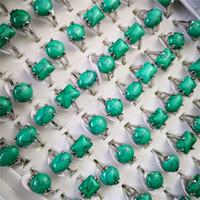 CR مجوهرات خمر الفيروز الفضة مطلي حلقات شكل مختلف الأحجار الحجم 6-9 قابل للتعديل المرأة مجوهرات مختلطة JZR041