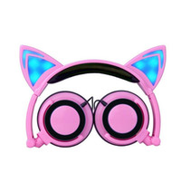 Cuffie da gioco orecchie di gatto con luci a led incandescenti Cuffie da gioco FoLdable cat earphone per PC portatile