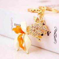 Chaveiros animal Acessórios Car Moda 3pcs / Tone Lot ouro liga de zinco Goldfish Pendant Chaves Anel Titular Bag Mulheres encanto Keychain