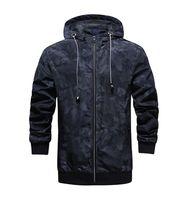 Mens конструктора Камуфляж Толстые куртки с капюшоном Мода Длинные рукава пальто весна Мужские пиджаки с молнией