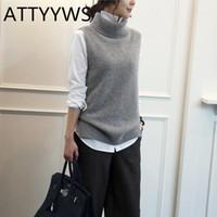 cashmere lana lavorata a maglia a collo alto di ATTYYWS donne della maglia senza maniche maglione di lana delle donne pullover giubbotto nuova moda selvaggia convenzionale