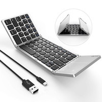 Teclado Bluetooth dobrável, Modo Dual USB Wired Bluetooth Teclado com TouchPad Recarregável para Android, Ios, Windows Tablet Smartphone