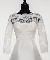 Solovedress Nouveau mariage à encolure bateau Appliqued dentelle de mariée veste femmes sur mesure Boléro formel Veste Taille Plus Capes Wraps 2020