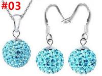 أقراط المجوهرات قلادة ثلاثة قطعة مجموعة 10MM الماس كامل الكرة O سلسلة سلسلة كريستال الأذن هوك الجملة قلادة هدية المفضل