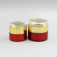 20G 30G Luxury Round Acrylic Jar Red Gold Cream Jar Containe...