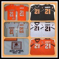 1986-1988 Retro NCAA Men s Oklahoma State Cowboys 21 Barry Sanders College Football Jerseys Günstige Sanders University Football Shirts orange