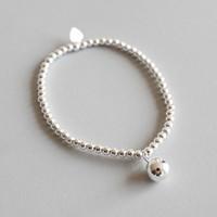 New Chic 925 prata esterlina 3mm Rodada Beads Cadeia Strand Pulseiras Mulheres 8mm Beads encantos pulseira elástica Presentes de casamento