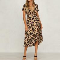 المرأة ليوبارد طباعة بوهو ماكسي اللباس السيدات عطلة طويلة فستان قصير الأكمام