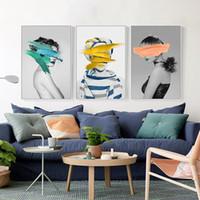Modern İskandinav Siyah Beyaz Kanvas Boyama Sanatı Oturma odası için duvar poster Özet Kız Duvar Resimleri Duvar Art Print