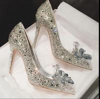 2019 lusso tacchi alti grado superiore Cenerentola scarpe di cristallo scarpe da sposa strass nuziale con il fiore del cuoio genuino scarpe inferiori rossi