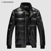 CARANFIER 2019 Hommes Hiver chaud Véritable cuir noir réel en peau d'agneau Canard Bomber Doudounes Manteaux Jaqueta De Couro Deri Ceket CJ191213