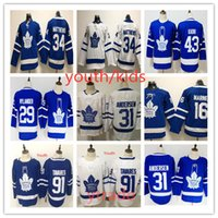 A juventude caçoa o Toronto Maple Leafs # 91 John Tavares Jerseys 34 Auston Matthews 29 William Nylander 16 Mitch Marner 43 Nazem Kadri costurado