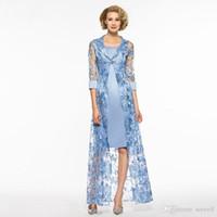 2018 mère dentelle bleu ciel setwell des robes de mariée manches 3/4 mère de la robe de marié avec des robes de soirée personnalisés veste