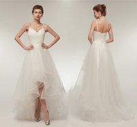 Elegant Ruffle V Neck A Line Wedding Dresses Tulle Long Hi L...