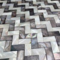 Black mix White Seamless Mother of pearl tile backsplash MOP19009 herringbone shell mosaic kitchen bathroom wall tile