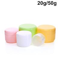 100 x Boş Kozmetik Ambalaj Krem Kavanoz Konteynerler 20 ml / 50 ml DIY Macoron Renk Kozmetik için PP Krem Plastik Şişeler